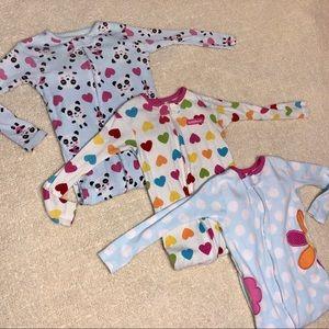 3 pair carters  pajamas girls zip up blue, white